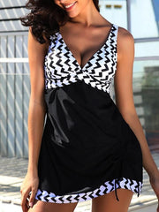 Women's Fashion Black & White Tankini Set Swimwear Swimsuit