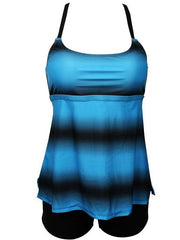 Two Pieces Printed Strappy Back Blue Sports Tankini Swimwear