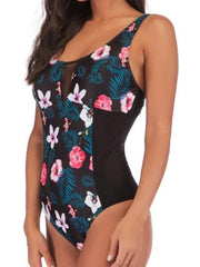 Floral Printed Tropical Patchwork Spaghetti Strap One Piece Swimwear