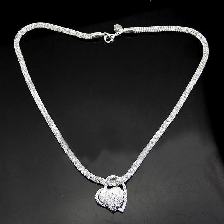 925 Silver Pleated Fashion Heart Popular Chain Necklace Jewellery