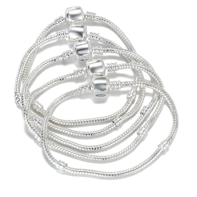 5PCS Wholesale 925 Silver Snake Charm Bracelet 3MM With Snap Clasp Beads Barrel Bracelets Bangle
