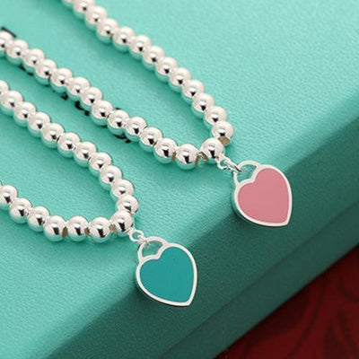 New Silver Pleated Heart Charms Bracelet