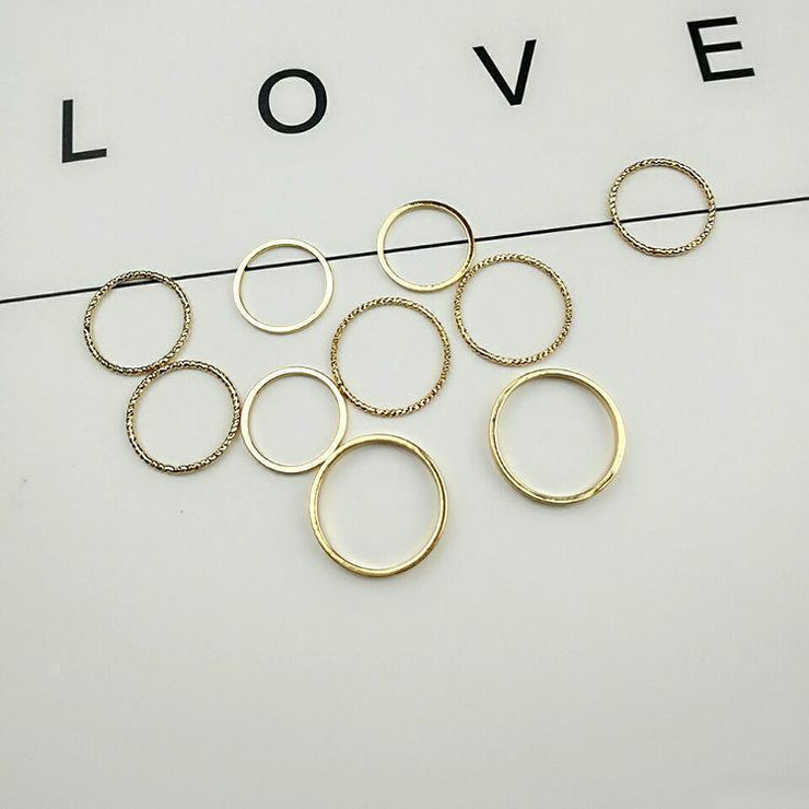 Trendy Statement Simple Style Personality Golden Color Geometry Women's Fashion Rings Set-10pcs