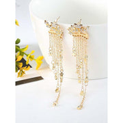 Womens Twinkle Star Tassel Pendant Earrings