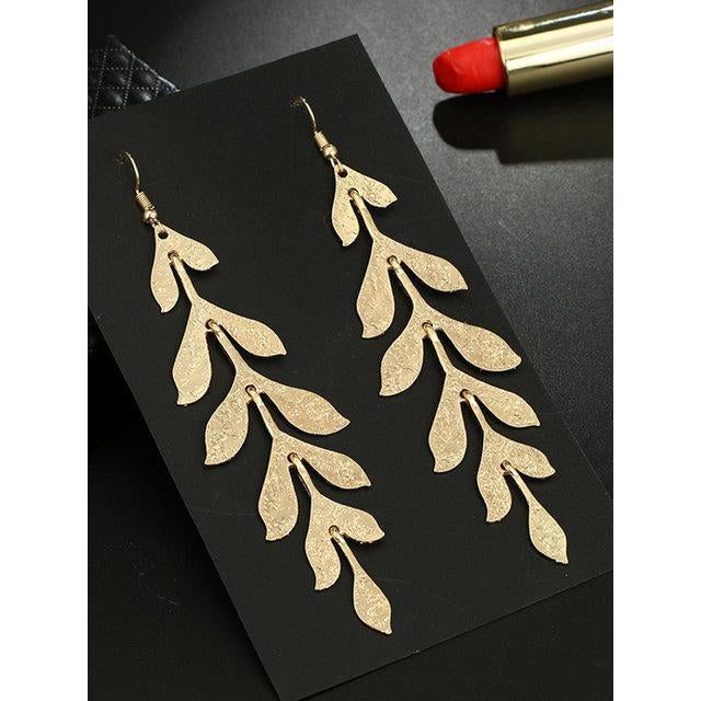 Bohemian Ladies Earrings Golden Multi-layered Leaves Long Earrings