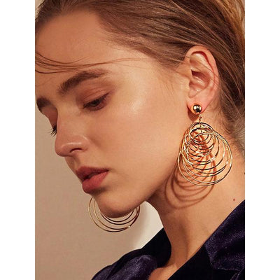 Womens Punk Big Gold Round Long Dangle Pendientes Circles Drop Earrings