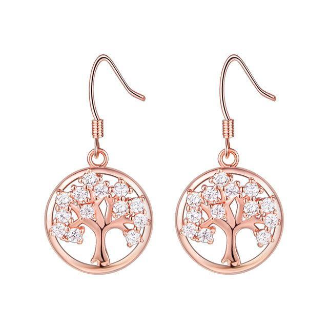 Womens Round Trees Copper Earrings