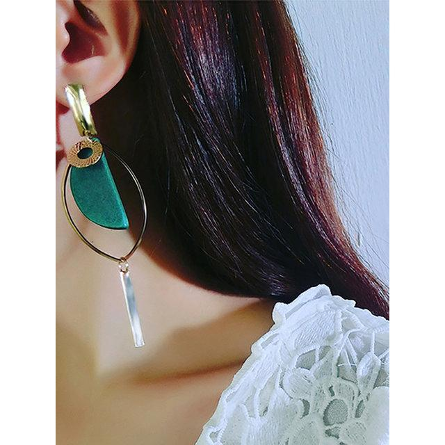 Women's Fashion Korean Version of The Asymmetry Ear Pendant Long Exaggerated Personality Lady Earrings Korean Temperament Wood Ear Earrings