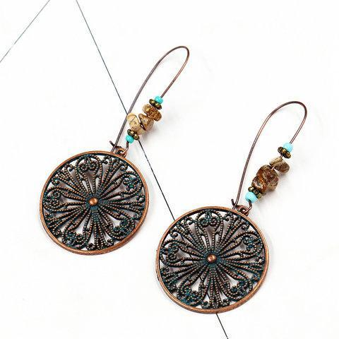 Fashion Antique Alloy Vintage Round Earrings for Women Boho Ethnic Dangle Drop Earrings Hanging Accessories Jewelry