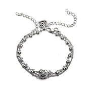 Double-layer Alloy Sliver Women Anklets