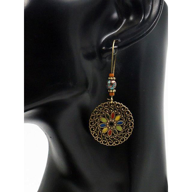 Womens Vintage Hollow Alloy Round Earrings