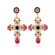 Womens Cross Diamond Earrings
