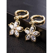 Womens Gold Plated Colorful Zircon Crystal Flower Earrings