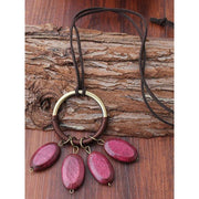 Handmade Wooden Alloy Sweater Vintage Necklace