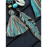 Womens Alloy Pendant Tassel Hollow Earrings