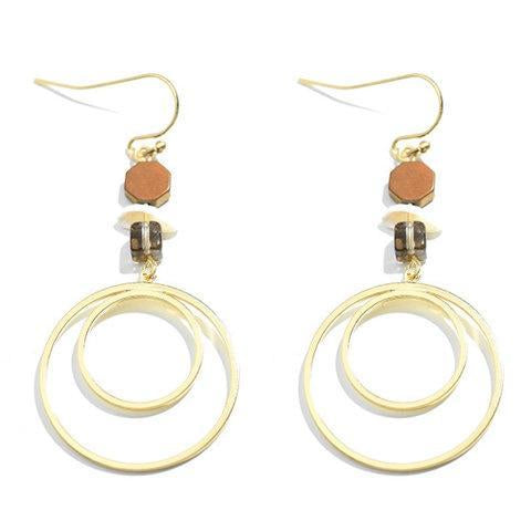 Women Casual Golden Round Earrings