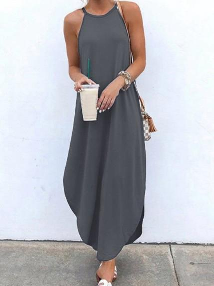 Women's Sleeveless Scoop Neck Maxi Dress Solid Color Swallow Tail Sleeveless Suspender Dress