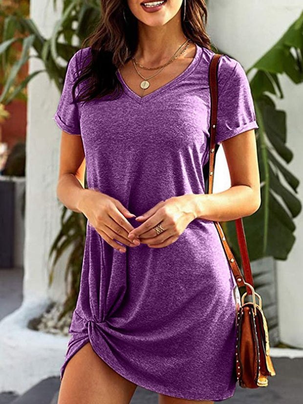 Women's Short Sleeve Scoop Neck Mini Dress Solid Color Irregular Hem Dress