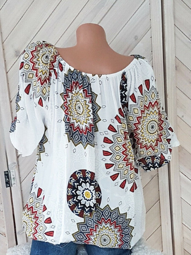 Women Plus Size Short Sleeve Printed Top Blouse