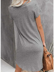 Women Solid Color V-neck Short Sleeve Twist Mini Dress