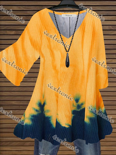 Women's Half Sleeve V-neck Gradient Printed Tunic Tops T-shirt Blouse Top Dress