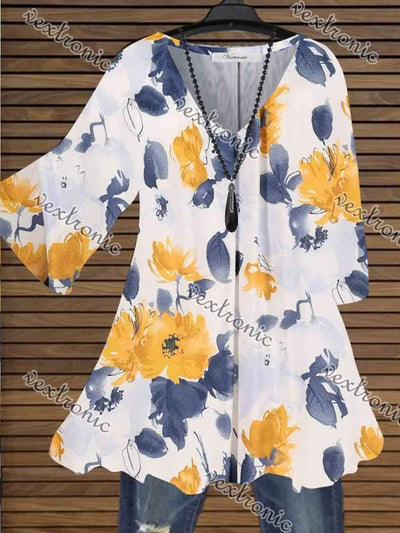 Women Half Sleeve V-neck Floral Printed Tops