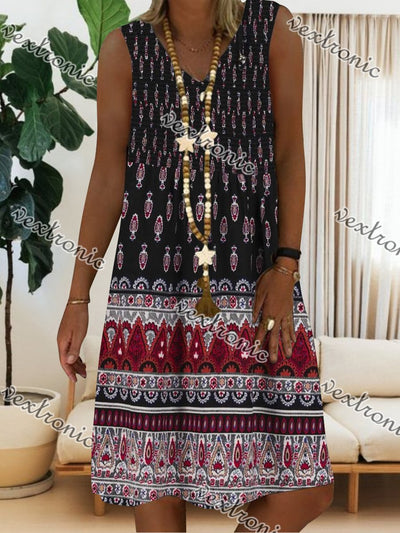 Women's Boho Floral Printed Sleeveless V-neck Midi Dress