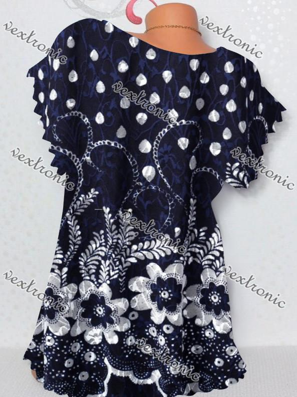 Women Short Sleeve Round Neck T-shirt Floral Water Drop Printed Top