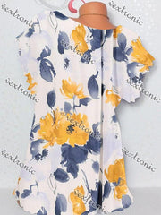 Women Casual Short Sleeve Scoop Neck Floral Printed Top