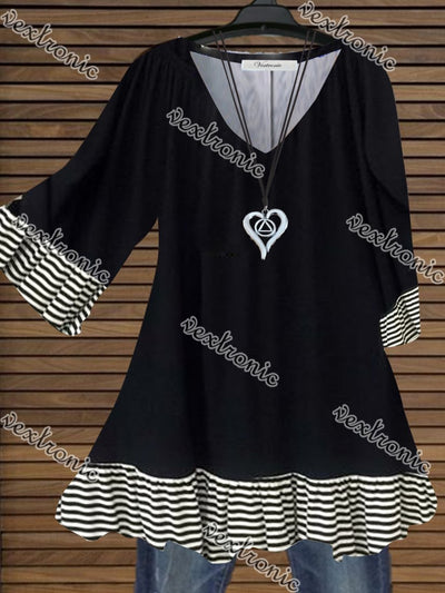 Women Casual Half Sleeve V-neck Striped Stitching Top Dress