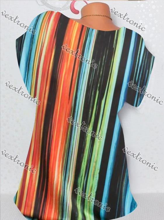 Women Short Sleeve V-neck Striped Printed Tops