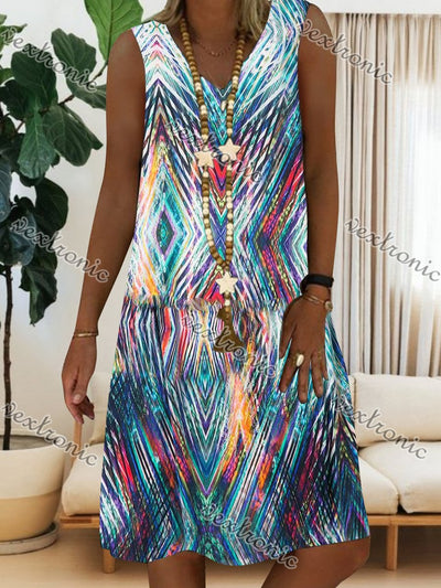 Women Sleeveless V-neck Geometric Printed Midi Dress