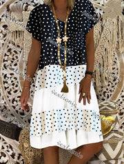 Women's Short Sleeve V-neck Polka Dots Patchwork Midi Dress Shift Dress