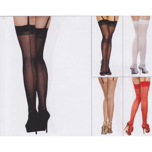 Sheer Thigh High Panty Hose With Seams - [collection] - Honeybunnies.com
