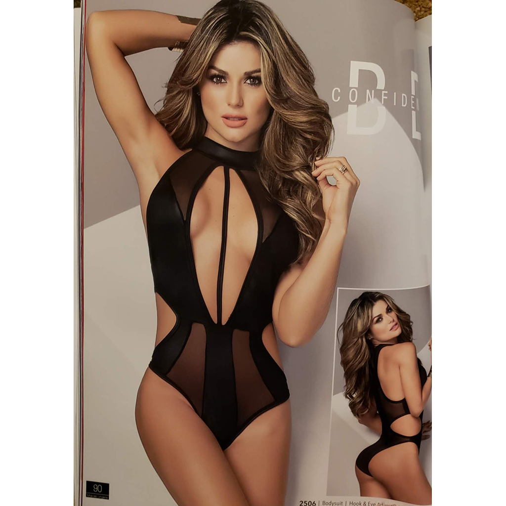 One-Piece Suit Lace Lingerie - Plunging Neckline and Open Side Panels - [collection] - Honeybunnies.com