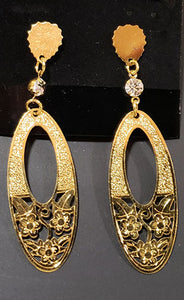 Oval Gold Rhinestone Earrings - [collection] - Honeybunnies.com