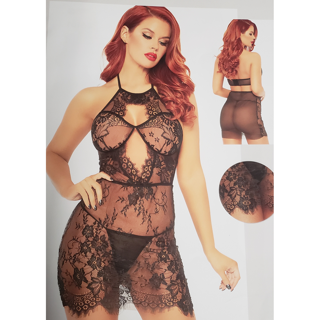 Embroidered Lace Three-Piece Lingerie - [collection] - Honeybunnies.com