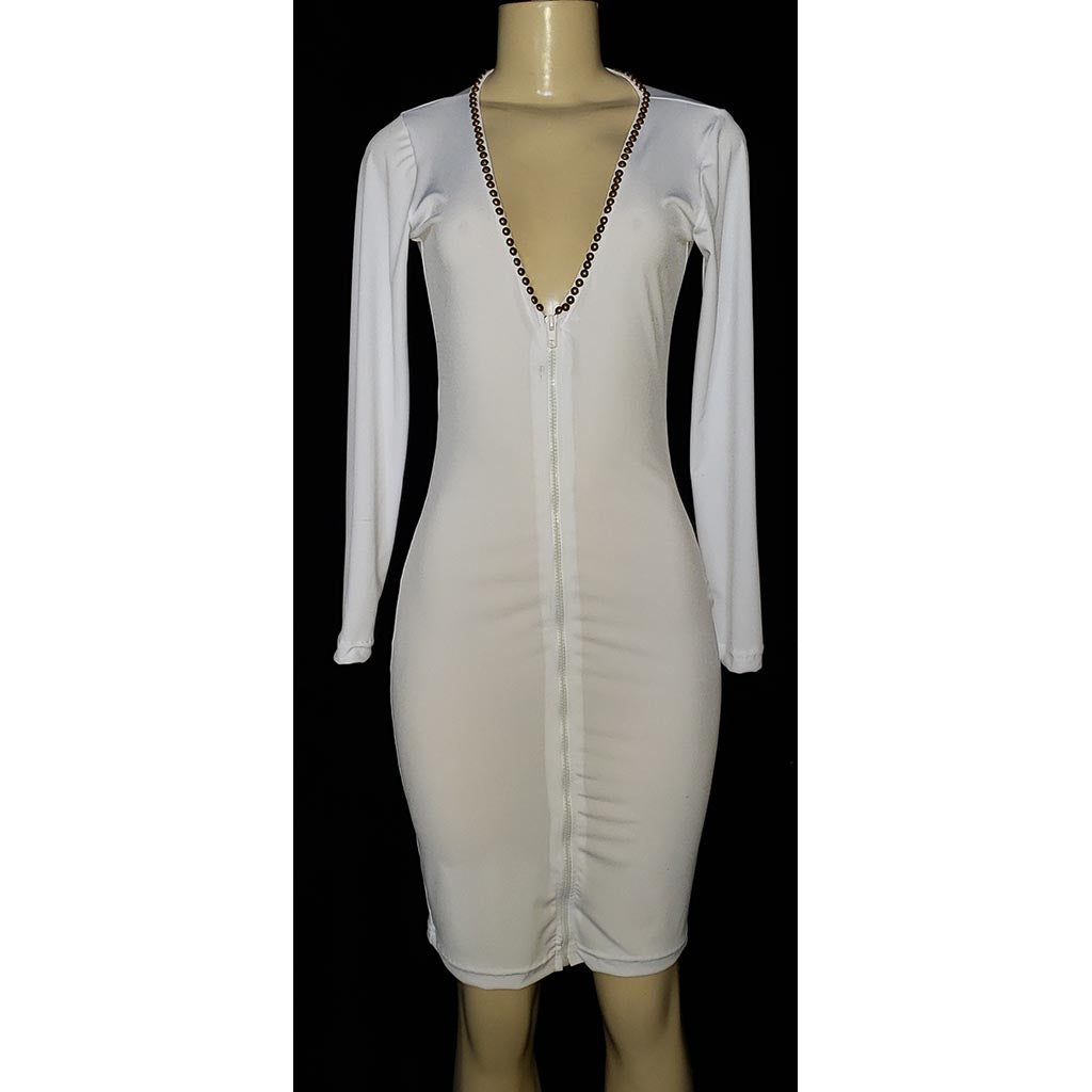 Zipper Front Club White Dress with beads - [collection] - Honeybunnies.com