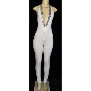 Slits Gold Trim White Jumper suit - [collection] - Honeybunnies.com