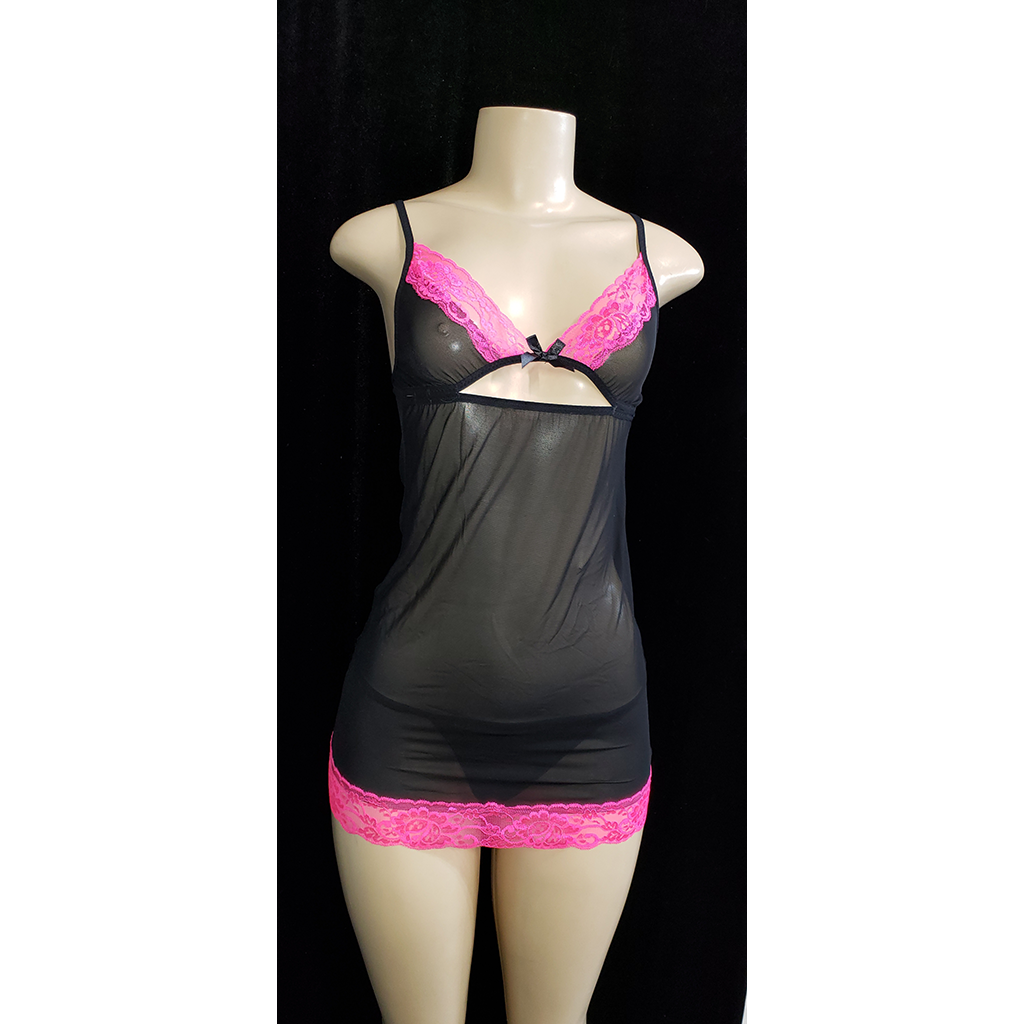 Heat-of-the-Night Black Sheer Camisole with Pink Lace Trim - [collection] - Honeybunnies.com