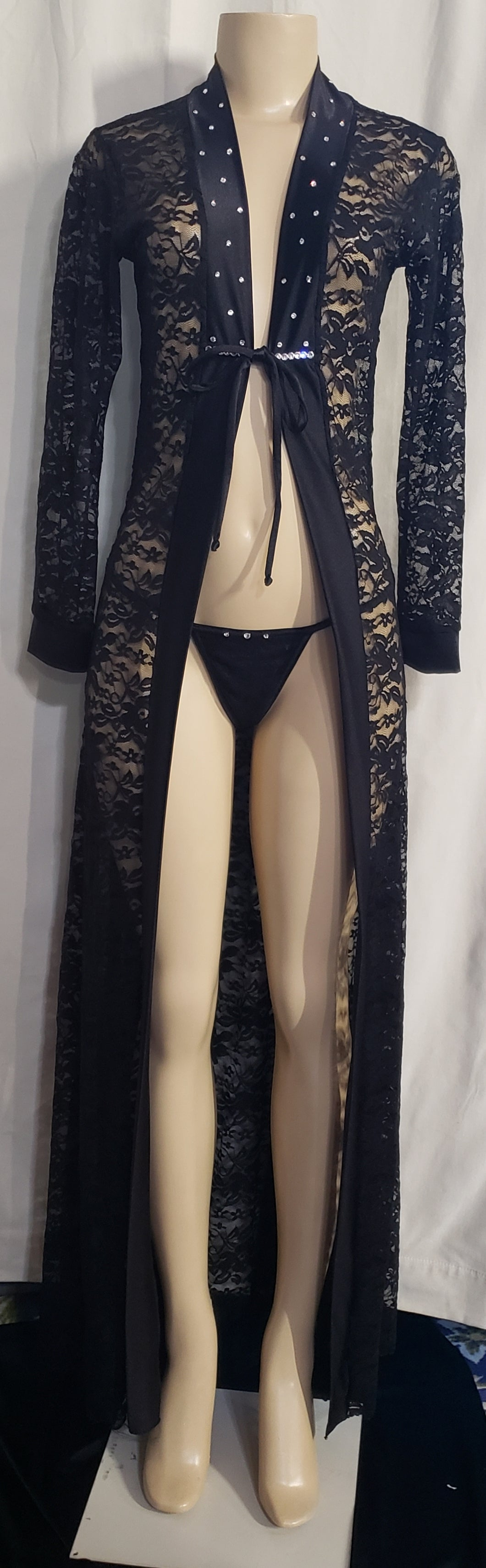 RO 4110 Long Lace Robe with G string Embellish with Rhinestones - [collection] - Honeybunnies.com