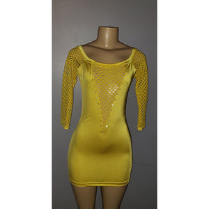 Honeycomb and Honey Yellow Long Sleeve Sexy Dress - [collection] - Honeybunnies.com