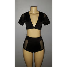 Load image into Gallery viewer, High-Waisted Two Piece Short Set with Sheer Sides - [collection] - Honeybunnies.com