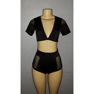 High-Waisted Two Piece Short Set with Sheer Sides - [collection] - Honeybunnies.com