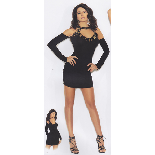 Melanie's Rhinestone Strip Collared One-Piece Dress - [collection] - Honeybunnies.com