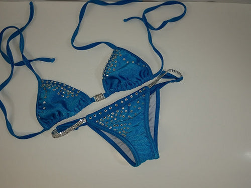 New Perfect Competition Bikini Small with Rhinestone connectors. Scrunch bottom - [collection] - Honeybunnies.com