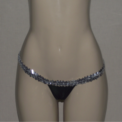 Brazilian Black And Silver Raptor String Thong - [collection] - Honeybunnies.com