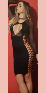 Lace-Up Long Sleeve Sexy Dress - [collection] - Honeybunnies.com
