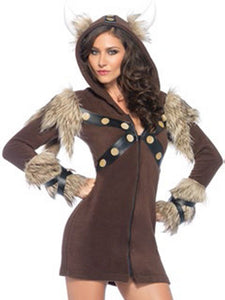Cozy Viking Fleece Dress With Faux Fur And Horn Hood