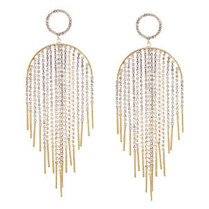 Rhinestone Waterfall Fringe With Bar Drop Earrings - [collection] - Honeybunnies.com
